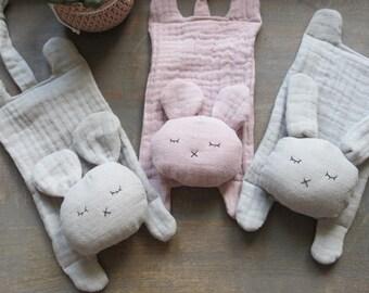 Handmade soft gauze / muslin mouse / rabbit baby comforter - pink or grey