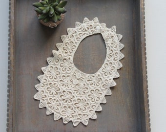 Ivory cotton guipure lace occasion adjustable bib 0 - 3 years