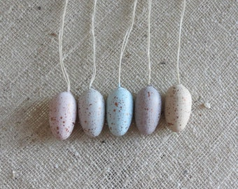 Set of 5 mini hand painted speckled wooden hanging Easter Eggs / Easter tree decorations / Egg Ornaments