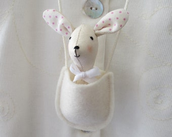 Bunny Rabbit and friends in a hanging pouch -  necklace / pocket pet / gift