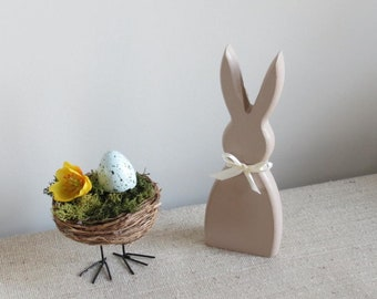 Wooden free standing rabbit / bunny decorative accessory with pom pom tail