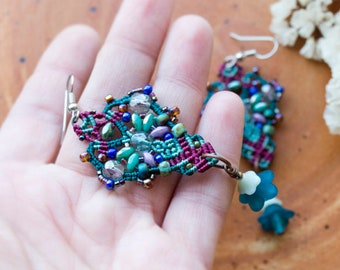 Lucite flowers, macrame beaded earrings, elegant, boho chic, beaded, long, dangle, micro-macrame jewelry, beadwork, floral, sea green teal
