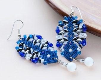 Beadwork earrings, blue white black silver, macrame, beadwoven, elegant, glass beaded, special occasion, classy, dressy, gift idea for her