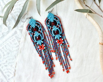 Fringe earrings with red flowers, beaded macrame jewelry, bright blue red black