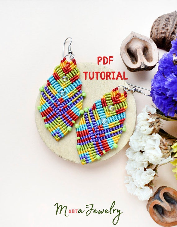 Pdf Tutorial Macrame Earrings Diy Step By Step Pattern Micro Macrame Beaded Jewelry Beginner Intermediate Knots Knotting Colorful