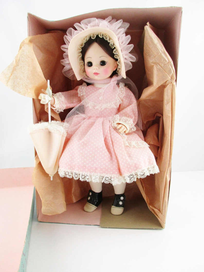 c2c0143144476 A 'Rebecca' by Madame Alexander - Pretty in Pink Rebecca of Sunnybrook Farm  - 1965 Doll - Original Outfit With Parasol - New In Her Box