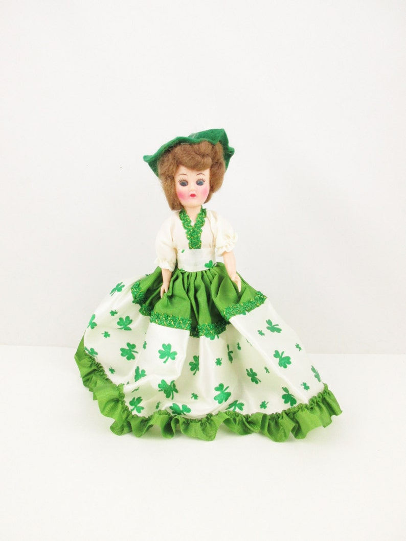 4e45086a8 St. Patrick's Day Character Doll From the 1950s - 'Shamrock' Dress  Collector Dolls - Lovely Detailed Costume With Feathered Hat