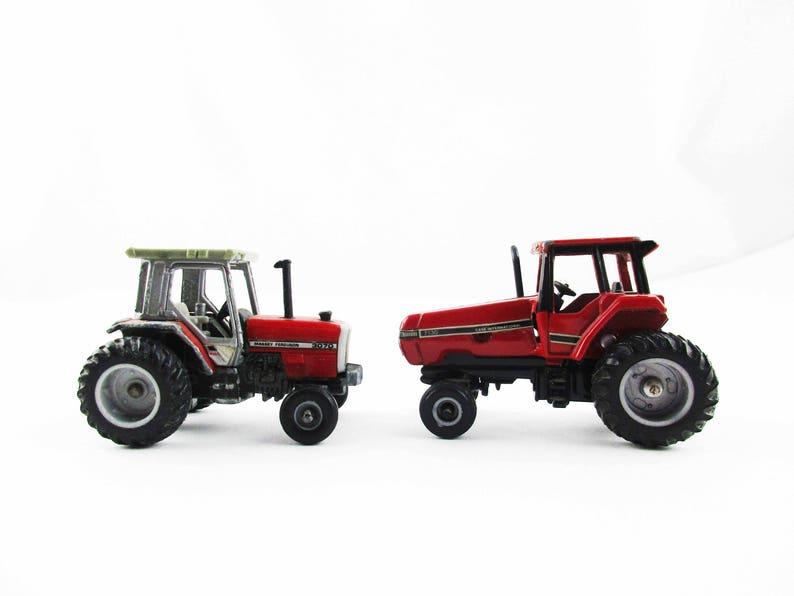1:64 Scale Tractors Iowa Ertl Metal Tractors Massey-Ferguson 3070 and Case International 7130 Dyersville Two Tractor Miniatures