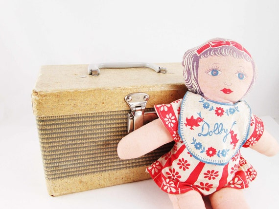 Vintage Paperboard Doll Case - Train Case or Dolly