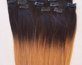 18″ 100% Ombre Clip in Human Hair Extensions 7Pcs,14 clips # T1B/27