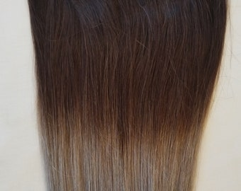 18″ 100% Ombre Clip in Human Hair Extensions 7Pcs,14 clips # T2/Sterling Silver