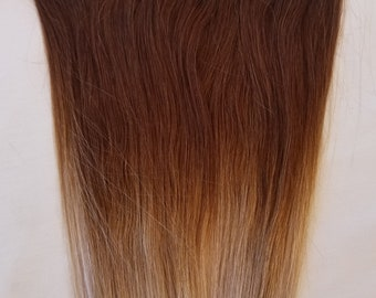 18″ 100% Ombre Clip in Human Hair Extensions 7Pcs,14 clips # T4/Light Ash Blonde