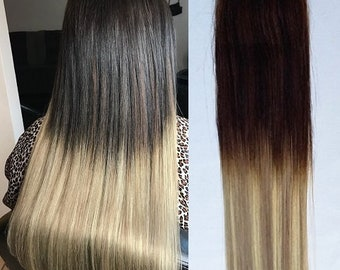 """Hair Faux You 20"""" Ombre Balayage Tape in Hair Extensions Remy Human Hair Glue in Extensions Color #T2-18/613"""