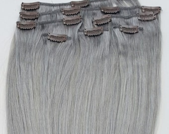 """18"""",20"""", 22"""", 24""""  7pcs Clip In Human Hair Extensions Sterling Silver (Beautiful Silver Gray)"""