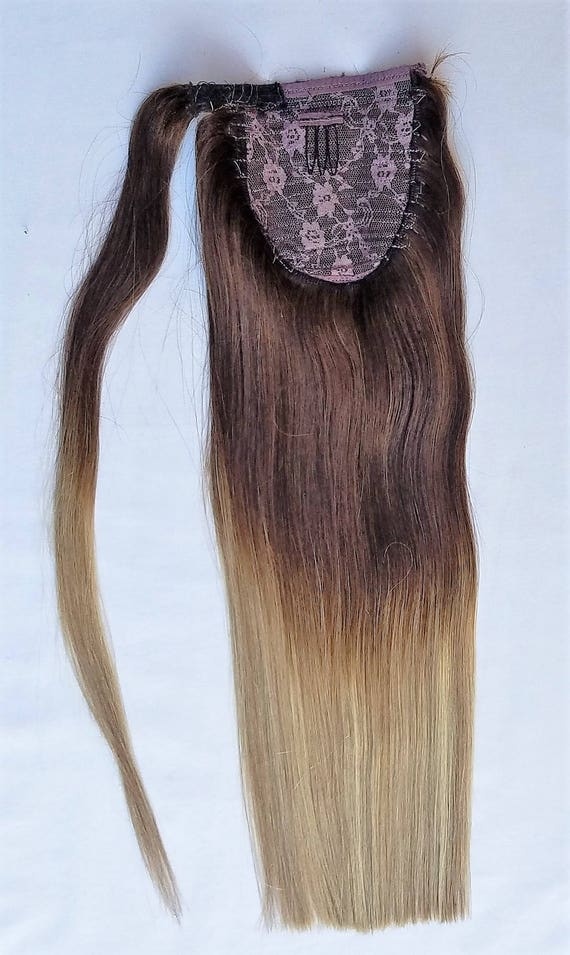 18inches Ombre Balayage 100 Human Hair Wrap Around Ponytail Etsy