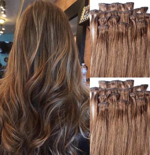 24 Clip In Hair Extensions Real Human Hair 100 Gram Clip Etsy