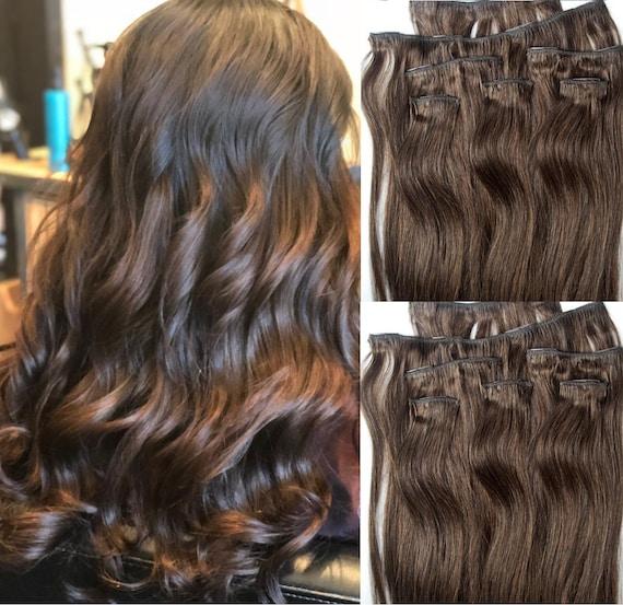 18 Clip In Hair Extensions Real Human Hair 80 Gram Clip Etsy