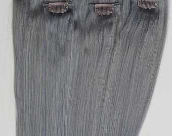 18 inches 7pcs Clip In Human Hair Extensions Dark Silver (Steel Gray)