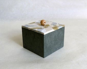 Grey deco box (small size) - Nepalese paper, feathers
