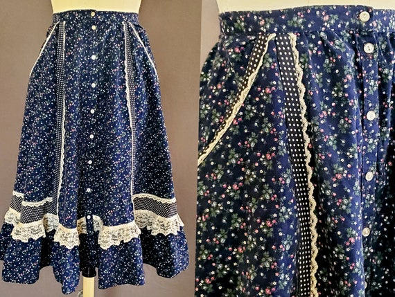 1970s Gunne Sax Skirt XS Extra Small 70s Size 2 G… - image 1