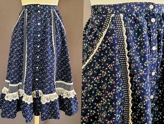 1970s Gunne Sax Skirt XS Extra Small 70s Size 2 GU