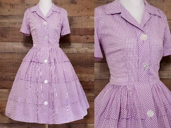 1950s Dress M Medium Cotton Gingham Shirtwaist Dre