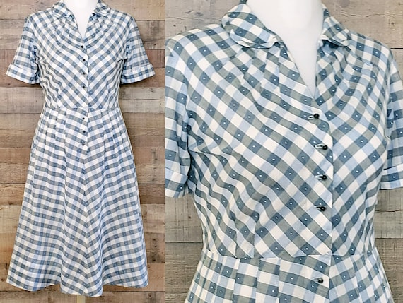 1940s Dress XL Extra Large Shirtwaist Dress