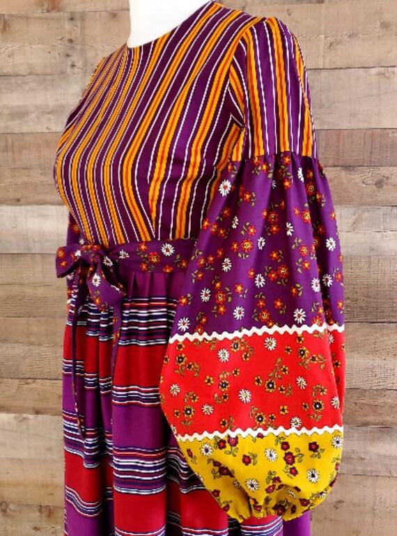 1960s Dress S Small Long Sleeve Maxi Dress - image 6