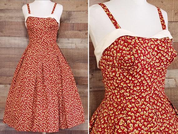 1950s Sundress S Small Rayon Rockabilly Sun Dress