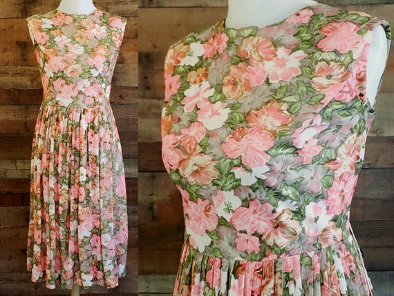 1960s Dress XL XXL Jersey Floral Day Dress Sundres