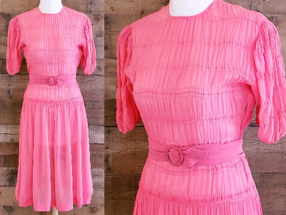 1930s Pink Rayon Crepe Chiffon Dress S Small M Med