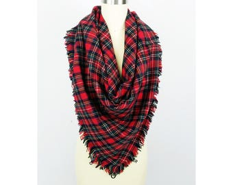 Wool Scarf / Red Plaid Scarf / Tartan Scarf / Big Square Scarf / Gift for Her Woman Girl Wife Coworker / GIFTS under 20 / Stocking Stuffer