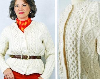 1950s 50s Cardigan Sweater / Aran Wool Cardigan Sweater / Irish Wool Cardigan Sweater / Hand Knit Cable Knit Vintage Sweater / Size 6 8