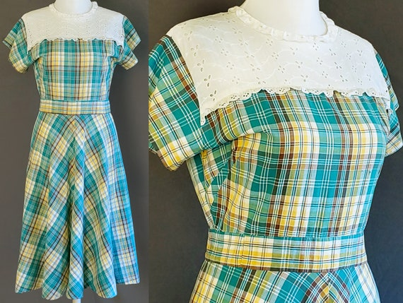 1930s Dress M Medium Plaid Size 6 8 10