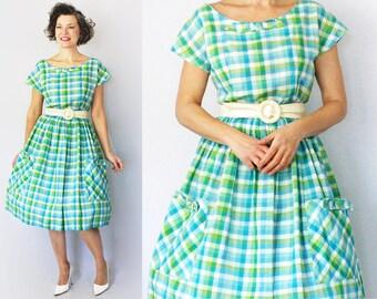 """50s Day Dress / 1950s Dress / 50s Dress / 1950s Day Dress / Plaid Dress / Spring Dress / Day Dress / Full Skirt Dress / Summer / Waist 29"""""""