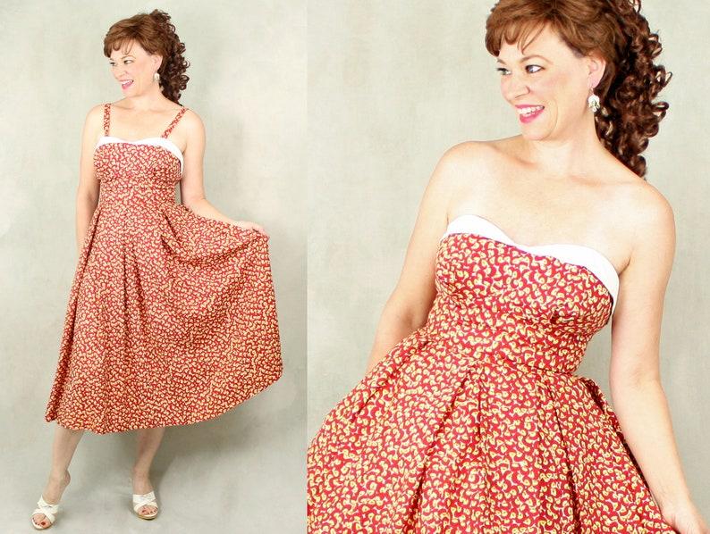 72aad10e9f1 1950s Dress   50s Sun Dress   Rayon Sundress   Strapless   New