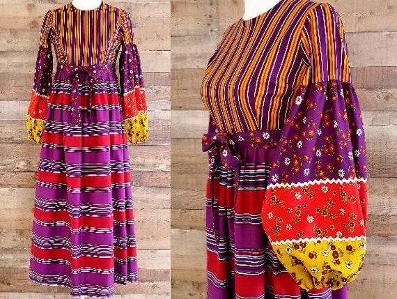 1960s Dress S Small Long Sleeve Maxi Dress