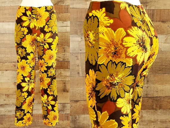 1960s Pants XS Sunflower Print Cigarette Pants