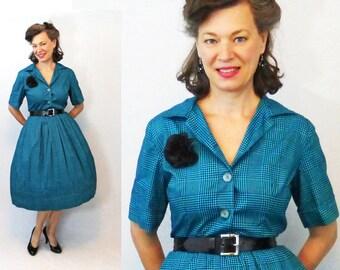 """1950s Dress / 50s Dress / 1950s Day Dress / 50s Day Dress / Shirtwaist Dress / Shirt Waist Dress / Large Dress / Vintage Shirt Dress / W 33"""""""
