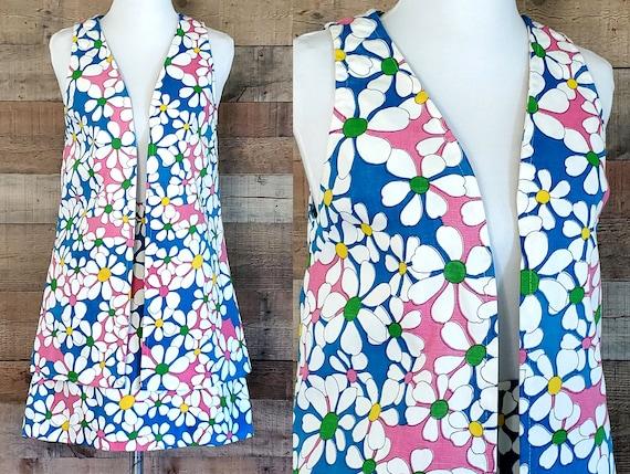 1960s Skirt Set XS Flower Power Mini Skirt and Ves