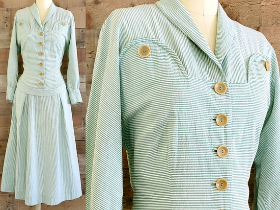 1940s Dress S Small Green Seersucker Shirt Dress
