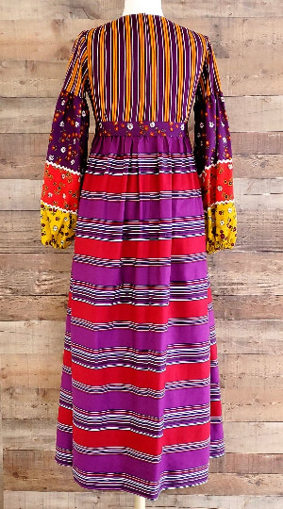 1960s Dress S Small Long Sleeve Maxi Dress - image 8