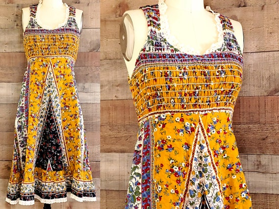 1970s Sun Dress XS Calico Ruched Top Sundress