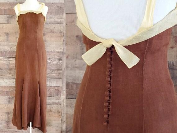 1930s Dress M L Medium Large Linen NRA Dress Code