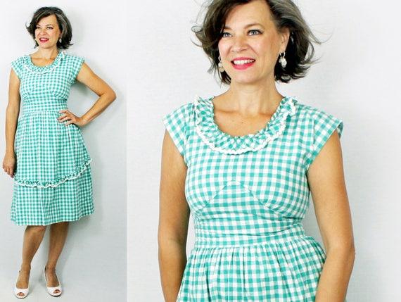 """1940s Dress Gingham Day Dress W 27"""""""