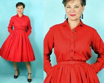 """Anne Fogarty Dress / Shirt Waist Dress / 1950s Dress / 50s Dress / New Look Dress / Full Skirt Dress / Day Dress / Long Sleeve Dress / W 26"""""""