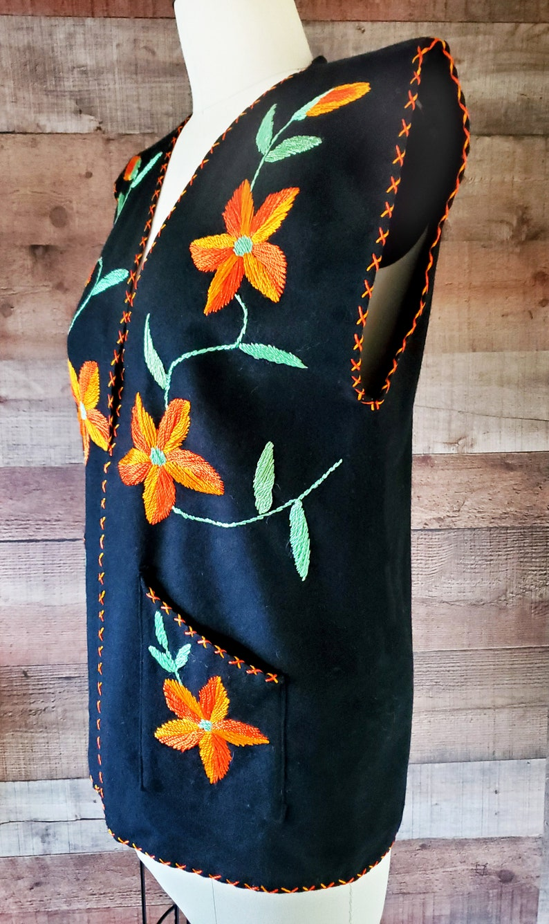1950s Tourist Vest S Small 50s Souvenir Mexican Hand Embroidered Wool