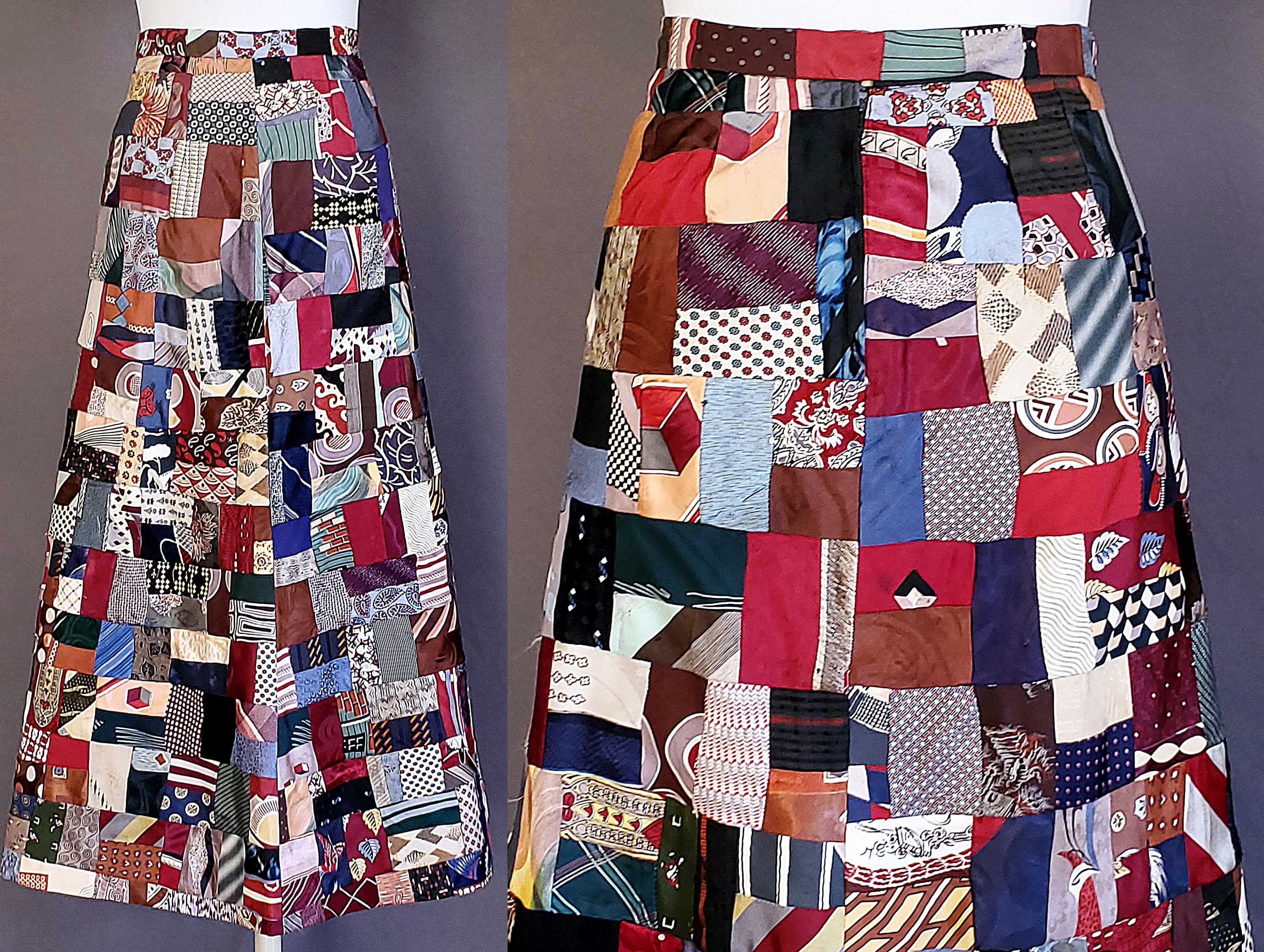 New 1930s Mens Fashion Ties 1970 70S Crazy Quilt Maxi Skirt M Medium Size 8 Waist 30 Vintage Patchwork Aline Made From 1920S 1930S Mens Silk Rayon Neck Ties $0.00 AT vintagedancer.com
