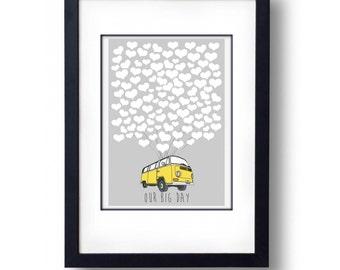 Personalised Bay Camper Heart Wedding Guest Book Alternative - A3 Print