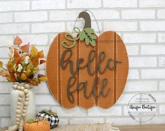 Pumpkin Door Hanger, Hello Fall Door Sign, Rustic wood sign, Hanging Pumpkin Sign, Front Door Decor, Modern Farmhouse wall Decor